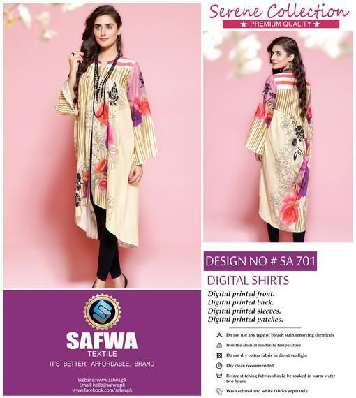 SA-701 - SAFWA LAWN - SERENE COLLECTION - DIGITAL  - SHIRTS, Shirt-Kurti, SAFWA, SAFWA Brand - Pakistani Dresses | Kurtis | Shalwar Kameez | Online Shopping | Lawn Dress