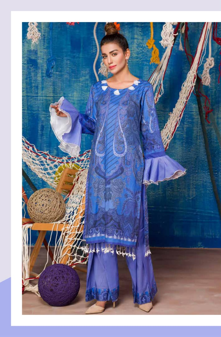 SP-20-SAFWA PREMIUM LAWN-SERENE PLUS COLLECTION-DIGITAL 2 PIECE - Safwa-Pakistani Dresses-Dresses-Kurti-Shop Online