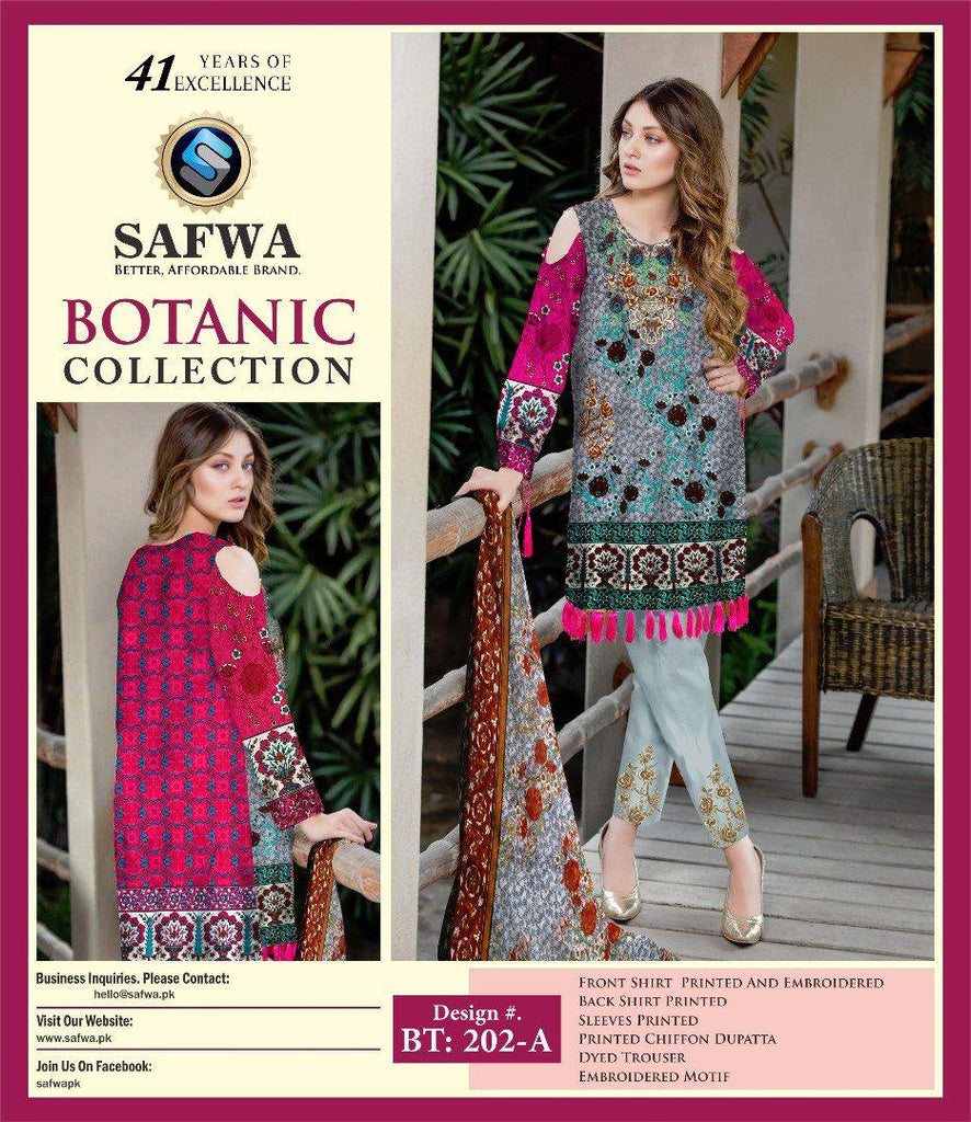 BT-202A - SAFWA LAWN - BOTANIC COLLECTION - EMBROIDERED - 3 PIECE DRESS, Three Piece Suit, SAFWA, SAFWA Brand - Pakistani Dresses | Kurtis | Shalwar Kameez | Online Shopping | Lawn Dress