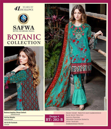 BT-202B - SAFWA LAWN - BOTANIC COLLECTION - EMBROIDERED - 3 PIECE DRESS