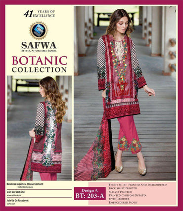 BT-203A - SAFWA LAWN - BOTANIC COLLECTION - EMBROIDERED - 3 PIECE DRESS