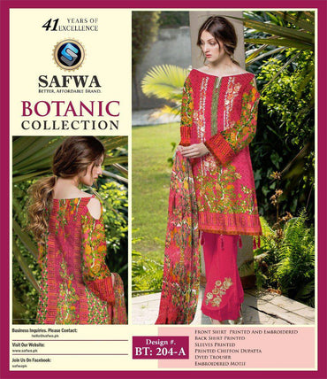 BT-204A - SAFWA LAWN - BOTANIC COLLECTION - EMBROIDERED - 3 PIECE DRESS