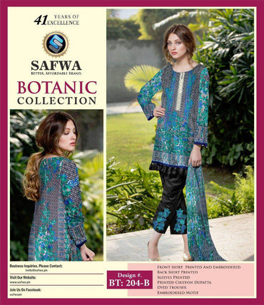 BT-204B - SAFWA LAWN - BOTANIC COLLECTION - EMBROIDERED - 3 PIECE DRESS