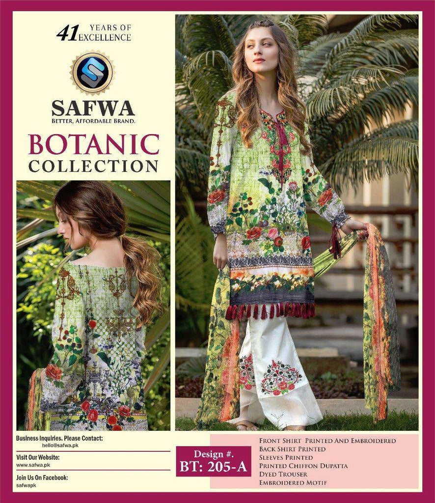 BT-205A - SAFWA LAWN - BOTANIC COLLECTION - EMBROIDERED - 3 PIECE DRESS, Three Piece Suit, SAFWA, SAFWA Brand - Pakistani Dresses | Kurtis | Shalwar Kameez | Online Shopping | Lawn Dress