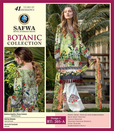BT-205A - SAFWA LAWN - BOTANIC COLLECTION - EMBROIDERED - 3 PIECE DRESS