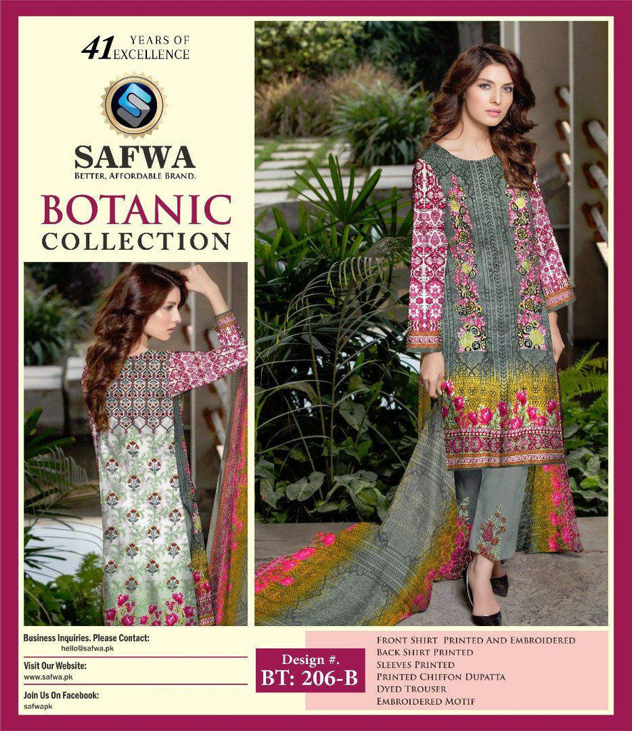 BT-206B - SAFWA LAWN - BOTANIC COLLECTION - EMBROIDERED - 3 PIECE DRESS, Three Piece Suit, SAFWA, SAFWA Brand - Pakistani Dresses | Kurtis | Shalwar Kameez | Online Shopping | Lawn Dress