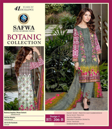 BT-206B - SAFWA LAWN - BOTANIC COLLECTION - EMBROIDERED - 3 PIECE DRESS