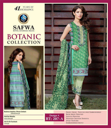 BT-207A - SAFWA LAWN - BOTANIC COLLECTION - EMBROIDERED - 3 PIECE DRESS