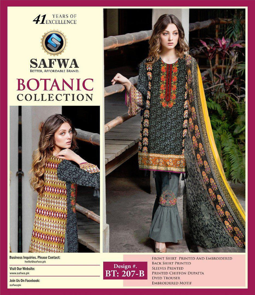 BT-207B - SAFWA LAWN - BOTANIC COLLECTION - EMBROIDERED - 3 PIECE DRESS, Three Piece Suit, SAFWA, SAFWA Brand - Pakistani Dresses | Kurtis | Shalwar Kameez | Online Shopping | Lawn Dress