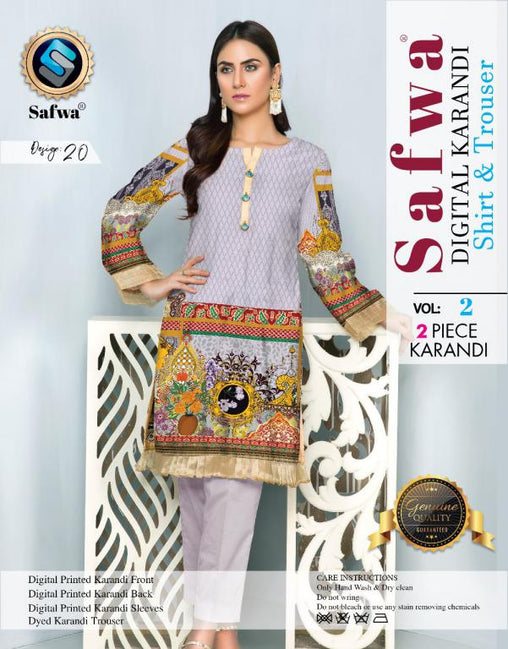 DK 20 - SAFWA DIGITAL KHADDAR 2 PIECE  PRINT COLLECTION -SHIRT and Trouser |SAFWA DRESS DESIGN| DRESSES| PAKISTANI DRESSES| SAFWA -SAFWA Brand Pakistan online shopping for Designer Dresses