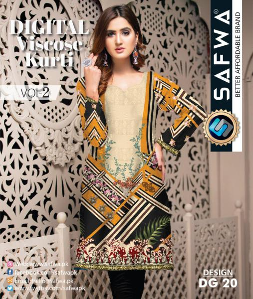 DG-20 - SAFWA - DIGITAL SHIRT - KURTI - VISCOSE KAMEEZ -SAFWA DRESS DESIGN, DRESSES, PAKISTANI DRESSES,-Shirt-Kurti-SAFWA Textile -SAFWA Brand Pakistan online shopping for Designer Dresses