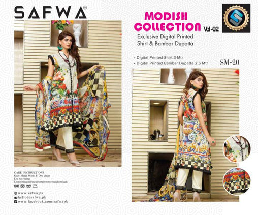 SM-20-SAFWA LAWN-MODISH COLLECTION- PRINTED -2 PIECE DRESS - Safwa |Dresses| Pakistani Dresses| Fashion|Online Shopping