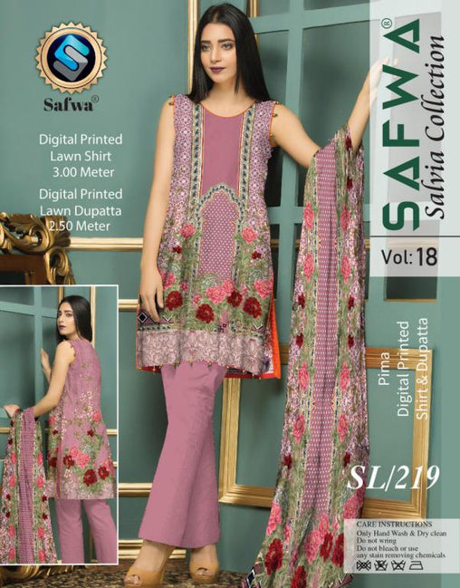 SL-219-SAFWA LAWN-SALVIA COLLECTION- PRINTED -2 PIECE DRESS - Two Piece Suit - safwa