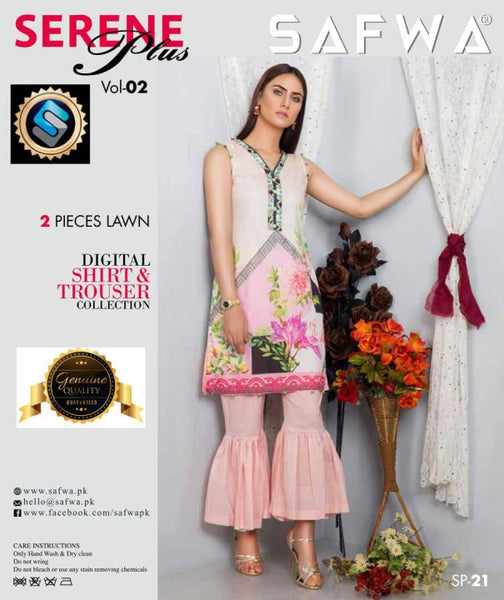 SP-21-SAFWA PREMIUM LAWN-SERENE PLUS COLLECTION-DIGITAL 2 PIECE - Safwa-Pakistani Dresses-Dresses-Kurti-Shop Online