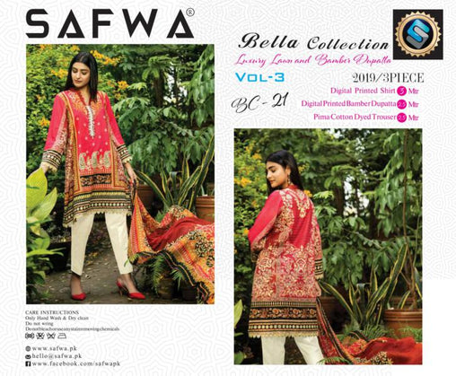 BC-21 - BELLA COLLECTION - 3 PIECE SUIT 2019-Three Piece Suit-SAFWA -SAFWA Brand Pakistan online shopping for Designer Dresses| SAFWA| DRESS| DESIGN| DRESSES| PAKISTANI DRESSES