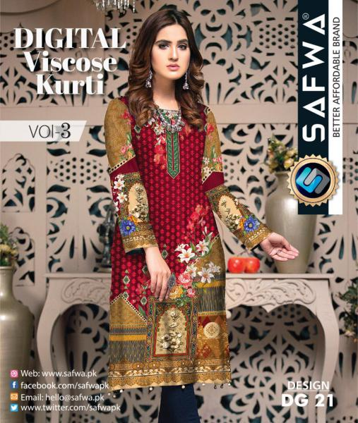 DG-21 - SAFWA - DIGITAL SHIRT - KURTI - VISCOSE KAMEEZ -SAFWA DRESS DESIGN, DRESSES, PAKISTANI DRESSES,-Shirt-Kurti-SAFWA Textile -SAFWA Brand Pakistan online shopping for Designer Dresses
