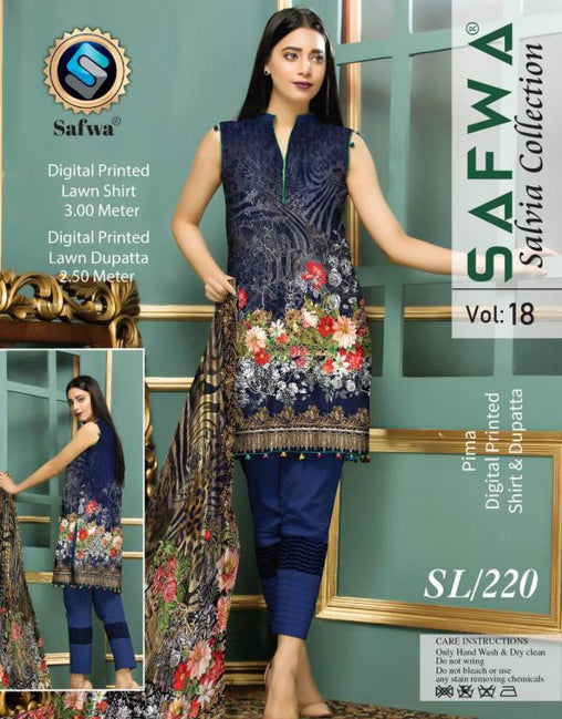 SL-220-SAFWA LAWN-SALVIA COLLECTION- PRINTED -2 PIECE DRESS - Two Piece Suit - safwa