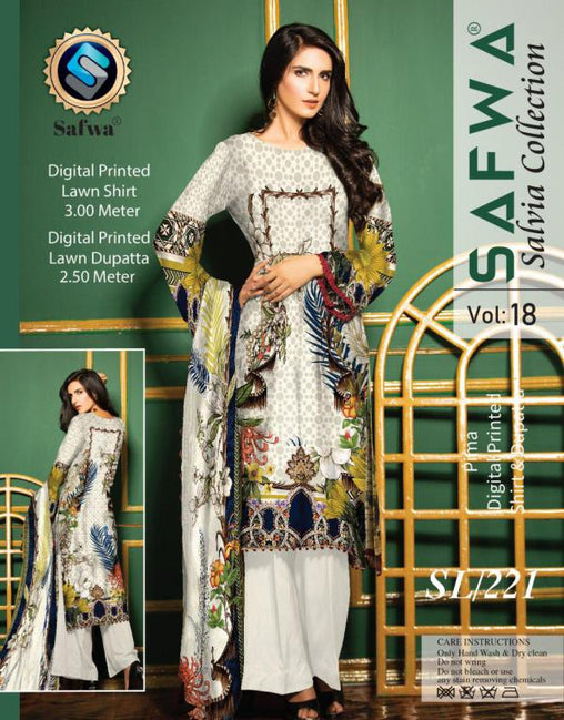 SL-221-SAFWA LAWN-SALVIA COLLECTION- PRINTED -2 PIECE DRESS - Two Piece Suit - safwa