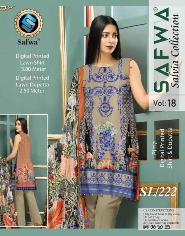 SL-222-SAFWA LAWN-SALVIA COLLECTION- PRINTED -2 PIECE DRESS - Two Piece Suit - safwa