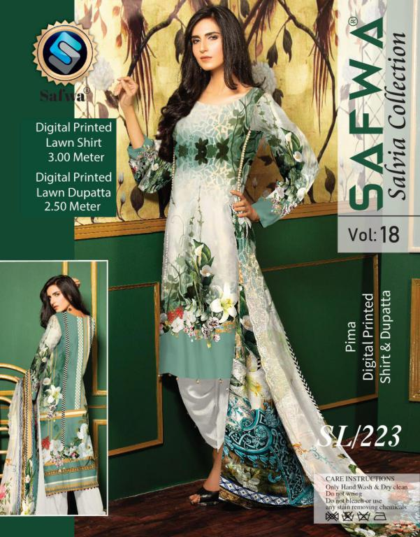SL-223-SAFWA LAWN-SALVIA COLLECTION- PRINTED -2 PIECE DRESS - Two Piece Suit - safwa