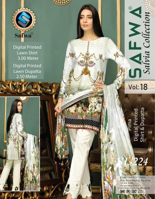 SL-224-SAFWA LAWN-SALVIA COLLECTION- PRINTED -2 PIECE DRESS - Two Piece Suit - safwa