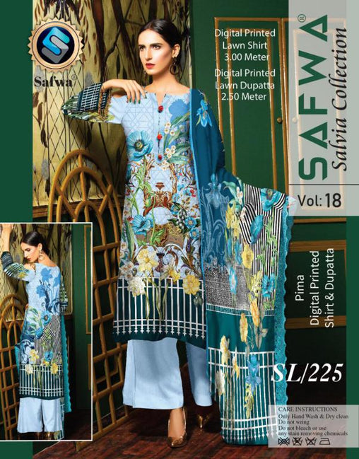 SL-225-SAFWA LAWN-SALVIA COLLECTION- PRINTED -2 PIECE DRESS - Two Piece Suit - safwa
