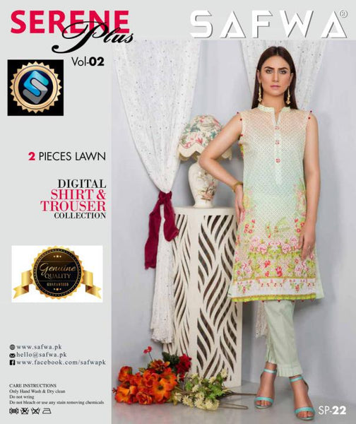 SP-22-SAFWA PREMIUM LAWN-SERENE PLUS COLLECTION-DIGITAL 2 PIECE - Safwa-Pakistani Dresses-Dresses-Kurti-Shop Online