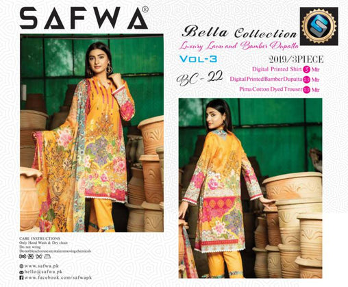 BC-22 - BELLA COLLECTION - 3 PIECE SUIT 2019-Three Piece Suit-SAFWA -SAFWA Brand Pakistan online shopping for Designer Dresses| SAFWA| DRESS| DESIGN| DRESSES| PAKISTANI DRESSES