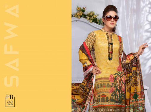 SAFWA DRESS DESIGN, DRESSES, PAKISTANI DRESSES, PR-22 - PRAHA COLLECTION - 3 PIECE SUIT 2019-Three Piece Suit-SAFWA -SAFWA Brand Pakistan online shopping for Designer Dresses