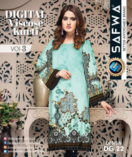 DG-22 - SAFWA - DIGITAL SHIRT - KURTI - VISCOSE KAMEEZ -SAFWA DRESS DESIGN, DRESSES, PAKISTANI DRESSES,-Shirt-Kurti-SAFWA Textile -SAFWA Brand Pakistan online shopping for Designer Dresses