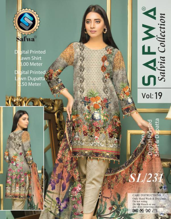 SL-231-SAFWA LAWN-SALVIA COLLECTION- PRINTED -2 PIECE DRESS - Safwa |Dresses| Pakistani Dresses| Fashion|Online Shopping
