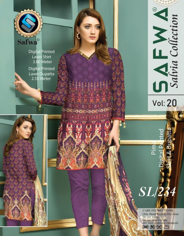 SL-234-SAFWA LAWN-SALVIA COLLECTION- PRINTED -2 PIECE DRESS - Safwa |Dresses| Pakistani Dresses| Fashion|Online Shopping