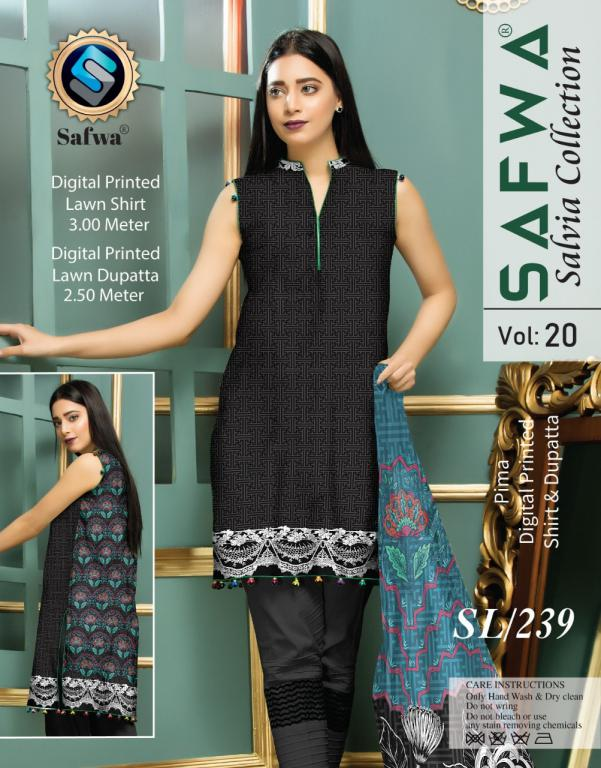 SL-239-SAFWA LAWN-SALVIA COLLECTION- PRINTED -2 PIECE DRESS - Safwa |Dresses| Pakistani Dresses| Fashion|Online Shopping