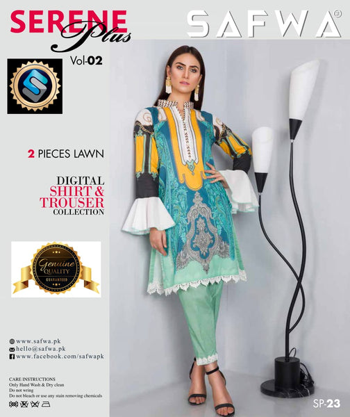 SP-23-SAFWA PREMIUM LAWN-SERENE PLUS COLLECTION-DIGITAL 2 PIECE - Safwa-Pakistani Dresses-Dresses-Kurti-Shop Online