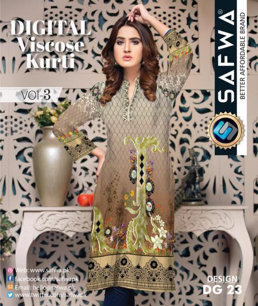 DG-23 - SAFWA - DIGITAL SHIRT - KURTI - VISCOSE KAMEEZ -SAFWA DRESS DESIGN, DRESSES, PAKISTANI DRESSES,-Shirt-Kurti-SAFWA Textile -SAFWA Brand Pakistan online shopping for Designer Dresses