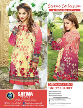SS-241 - SAFWA PREMIUM LAWN - SERENE COLLECTION - DIGITAL  - SHIRTS