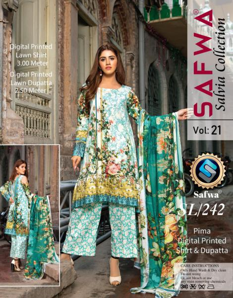 SL-242-SAFWA LAWN-SALVIA COLLECTION- PRINTED -2 PIECE DRESS - Safwa |Dresses| Pakistani Dresses| Fashion|Online Shopping