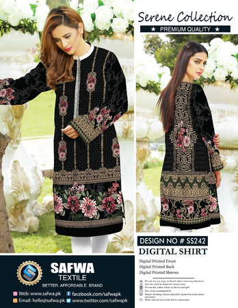 SS-242 - SAFWA PREMIUM LAWN - SERENE COLLECTION - DIGITAL  - SHIRTS
