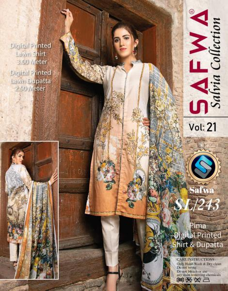 SL-243-SAFWA LAWN-SALVIA COLLECTION- PRINTED -2 PIECE DRESS - Safwa |Dresses| Pakistani Dresses| Fashion|Online Shopping
