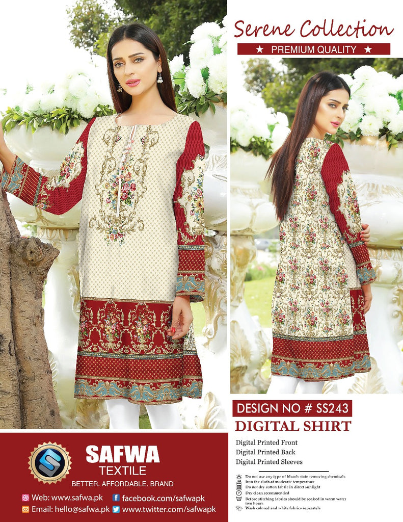SS-243 - SAFWA PREMIUM LAWN - SERENE COLLECTION - DIGITAL  - SHIRTS