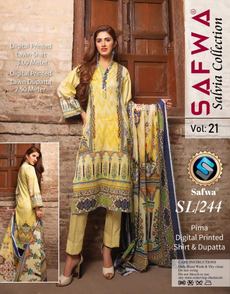 SL-244-SAFWA LAWN-SALVIA COLLECTION- PRINTED -2 PIECE DRESS - Safwa |Dresses| Pakistani Dresses| Fashion|Online Shopping