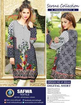 SS-244 - SAFWA PREMIUM LAWN - SERENE COLLECTION - DIGITAL  - SHIRTS