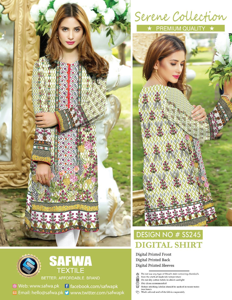 SS-245 - SAFWA PREMIUM LAWN - SERENE COLLECTION - DIGITAL  - SHIRTS