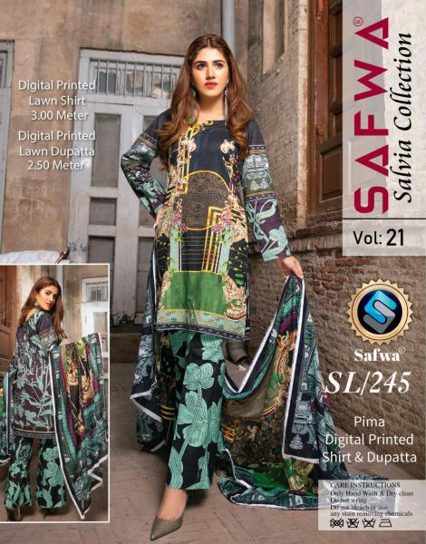 SL-245-SAFWA LAWN-SALVIA COLLECTION- PRINTED -2 PIECE DRESS - Safwa |Dresses| Pakistani Dresses| Fashion|Online Shopping