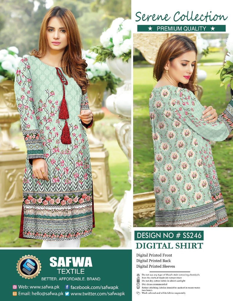 SS-246 - SAFWA PREMIUM LAWN - SERENE COLLECTION - DIGITAL  - SHIRTS