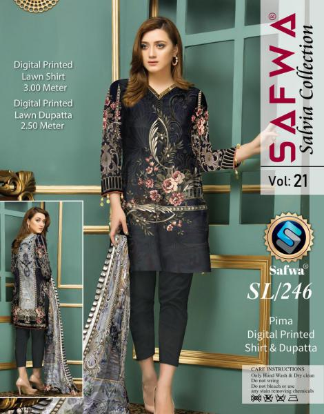 SL-246-SAFWA LAWN-SALVIA COLLECTION- PRINTED -2 PIECE DRESS - Safwa |Dresses| Pakistani Dresses| Fashion|Online Shopping