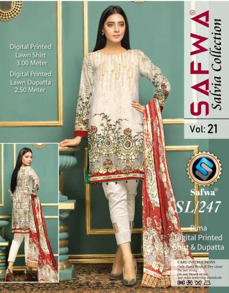 SL-247-SAFWA LAWN-SALVIA COLLECTION- PRINTED -2 PIECE DRESS - Safwa |Dresses| Pakistani Dresses| Fashion|Online Shopping