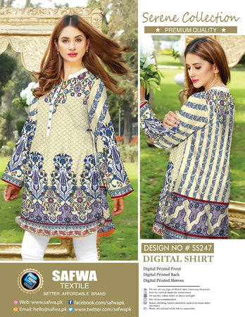 SS-247 - SAFWA PREMIUM LAWN - SERENE COLLECTION - DIGITAL  - SHIRTS