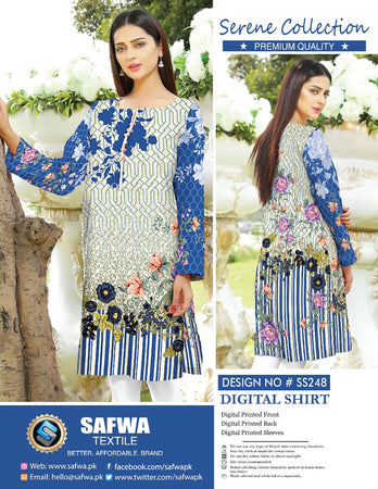SS-248 - SAFWA PREMIUM LAWN - SERENE COLLECTION - DIGITAL  - SHIRTS