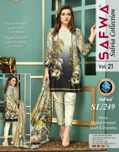 SL-249-SAFWA LAWN-SALVIA COLLECTION- PRINTED -2 PIECE DRESS - Safwa |Dresses| Pakistani Dresses| Fashion|Online Shopping